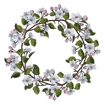 Apple blossom round frame