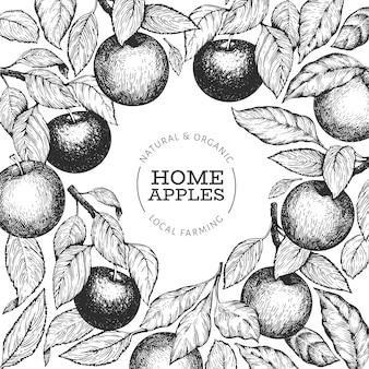 アップルブランチのデザインテンプレートです。手描きのガーデンフルーツのイラスト。刻まれたスタイルのフルーツフレーム。レトロな植物バナー。
