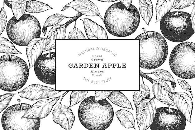 애플 지점 디자인 템플릿입니다. 손으로 그린 정원 과일 그림입니다. 새겨진 스타일 과일 복고풍 식물입니다.