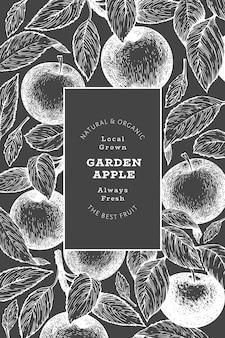 애플 지점 디자인 템플릿입니다. 분필 보드에 손으로 그린 정원 과일 그림입니다. 새겨진 스타일 과일 복고풍 식물입니다.