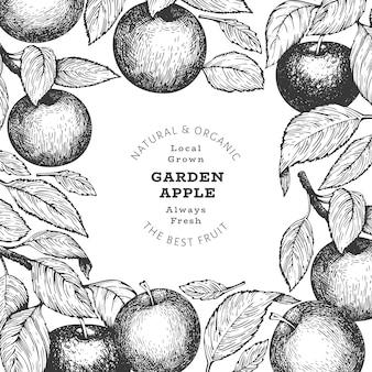 アップルブランチデザインテンプレート。手描きの庭の果物のイラスト。