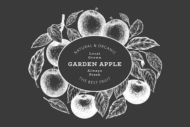 애플 지점 디자인 템플릿입니다. 분필 보드에 손으로 그린 벡터 정원 과일 그림. 새겨진된 스타일 과일 복고풍 식물 배너입니다.