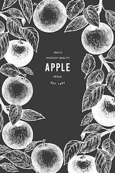 Appleブランチテンプレート。チョークボードに手描きの庭の果物のイラスト。刻まれたスタイルのフルーツレトロな植物のバナー。