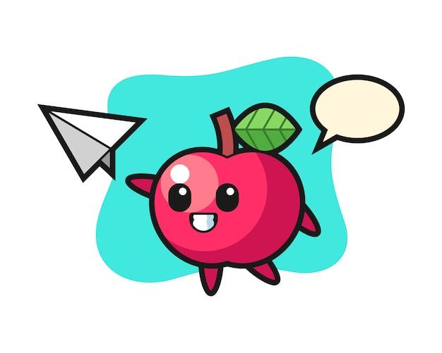 紙飛行機を投げるアップルの漫画のキャラクター