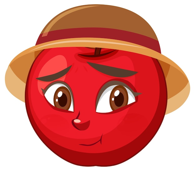 Apple cartoon character with facial expression