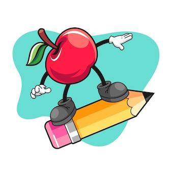 Apple cartoon riding on a giant pencil