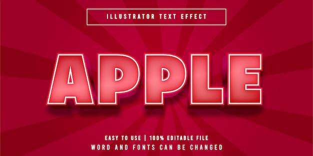 Редактируемый текстовый эффект apple cartoon style