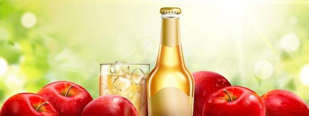신선한 과일과 사과 사과주, 3d 그림에서 bokeh 배경에 상쾌한 음료