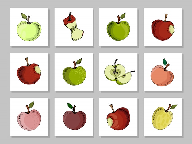 Apple collection on different colors