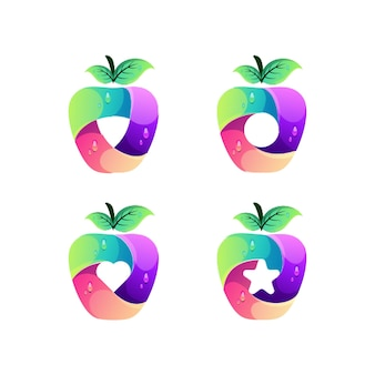 アップルのカラフルなロゴデザインテンプレート