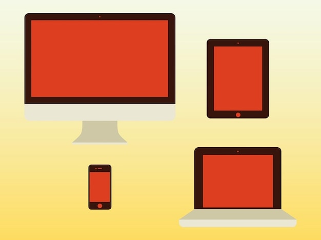 Apple computer desktop products vector