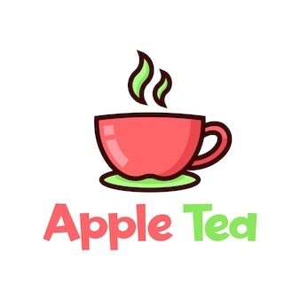 An apple cup of tea cartoon logo