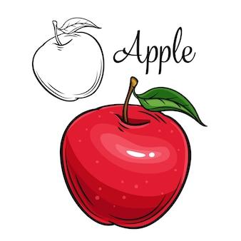 アップルの描画アイコンレトロなスタイルで手描きの果物