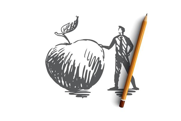 リンゴ、食品、果物、新鮮なオーガニックのコンセプト。手描きの男と大きなリンゴのコンセプトスケッチ。図。