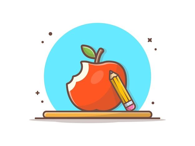 Яблоко фрукты и карандаш. снова в школу значок иллюстрации.