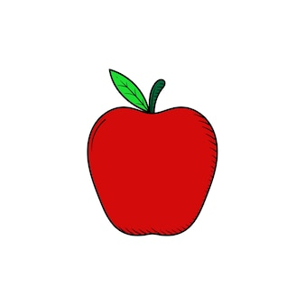 Яблоко фрукты рисованной значок иллюстрации изолированные