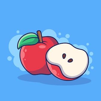 애플 과일 아이콘 그림입니다. 사과와 사과 조각. 파란색 배경에 고립 된 과일 아이콘 개념