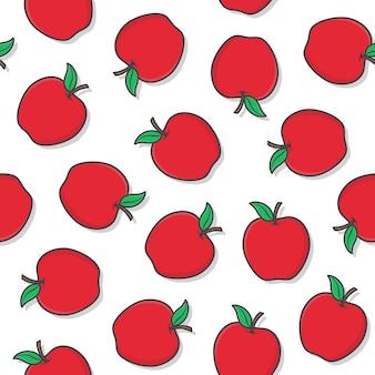 흰색 배경에 사과 과일 원활한 패턴입니다. 신선한 사과 아이콘 벡터 일러스트 레이 션
