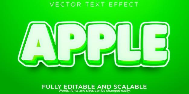 Текстовый эффект яблочного фрукта, редактируемый характер и зеленый стиль текста