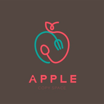 Apple fruit with spoon and fork logo outline stroke
