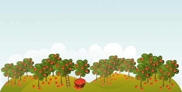 Яблоневый сад с иллюстрацией пустого пространства