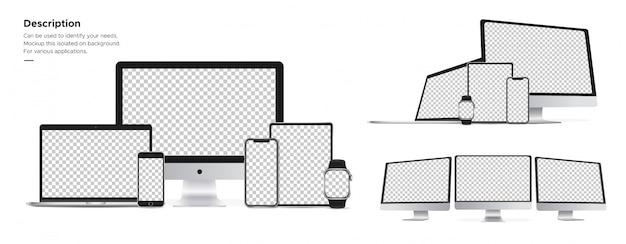 Appleテクノロジーには、imac、iphone、watch、ipad、macbookオブジェクトが背景に分離されています。