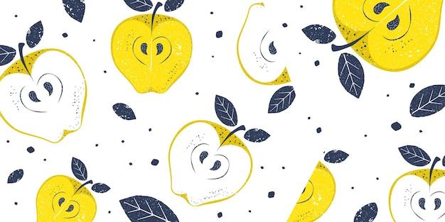 Яблоко в стильном гранж-фон