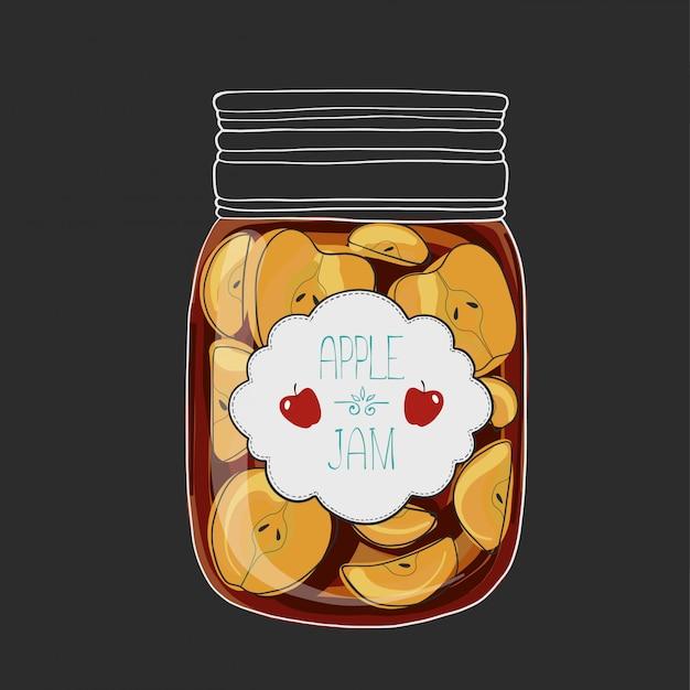 Apple jam vector illustration.