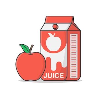 アップルアイコンイラスト付きアップルジュースボックス