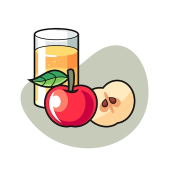 Apple juice cartoon illustration