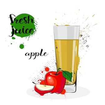 Apple juice fresh hand drawn watercolor fruit and glass on white background