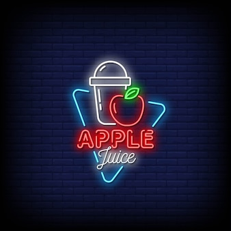Apple juice neon signs style text