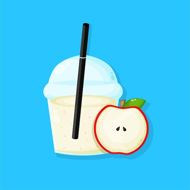 Apple juice in plastic cup icon