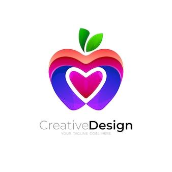 アップルのロゴと愛のデザインの組み合わせ、3dカラフル