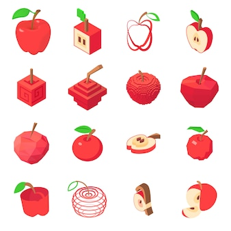 Apple logo icons set. isometric illustration of 16 apple logo vector icons for web