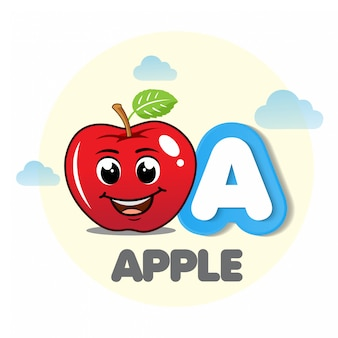 Apple mascot with letter a