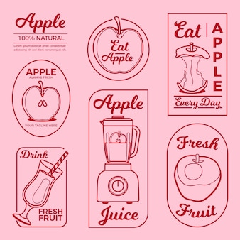 Apple minimal logo element collection