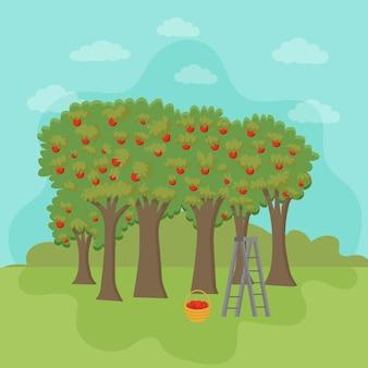 リンゴのバスケットが付いているリンゴの果樹園リンゴの収穫