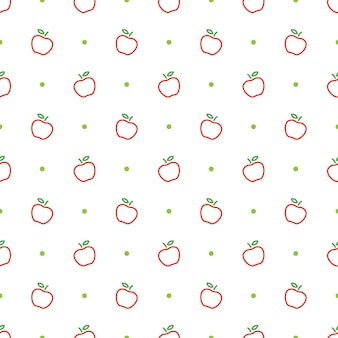 Apple outline seamless pattern template