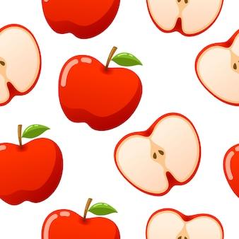 Яблочный узор бесшовные вектор на белом фоне
