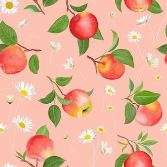 デイジー、熱帯の果物、葉、花の背景を持つリンゴのパターン。夏のカバー、秋の壁紙、ヴィンテージの背景、結婚式の招待状の水彩スタイルのシームレスなテクスチャイラストをベクトルします。