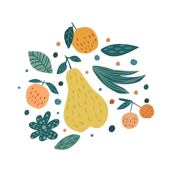 Apple, pear, cherry berries and leaves on white. hand draw fruits print.