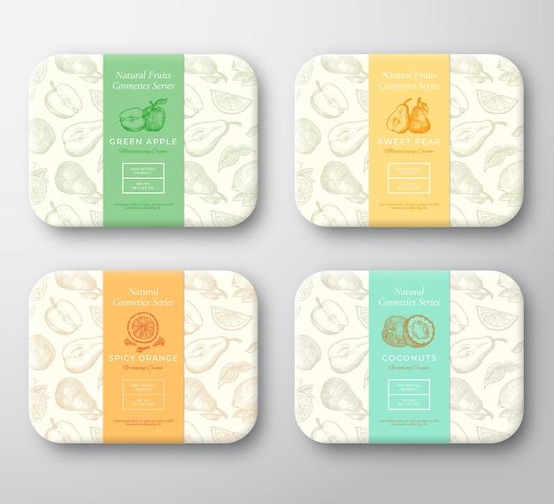 사과, 배, 코코넛, 오렌지 및 정향 향신료 골판지 상자 세트.