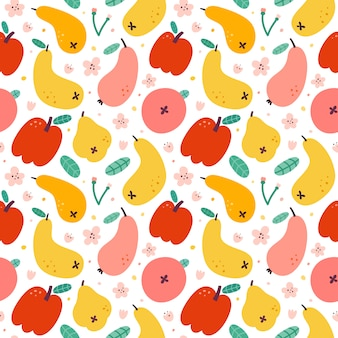 Apple pear fruit pattern, seamless background