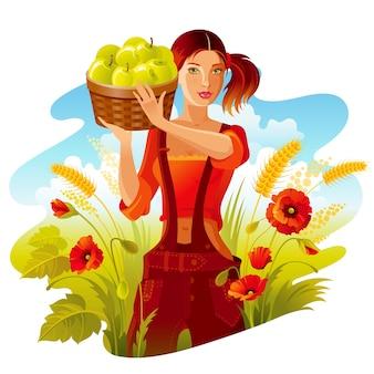 사과 따기. 사과 바구니와 함께 아름 다운 농장 소녀입니다. 가을 landscap, 밀 양귀비 필드. 귀여운 만화 스타일