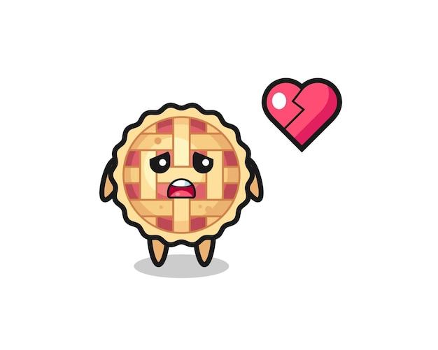 Иллюстрация шаржа яблочного пирога - разбитое сердце, милый стиль дизайна для футболки, стикер, элемент логотипа
