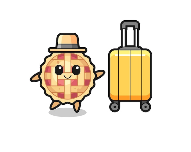 휴가에 수하물이 있는 애플 파이 만화 삽화, 티셔츠, 스티커, 로고 요소를 위한 귀여운 스타일 디자인