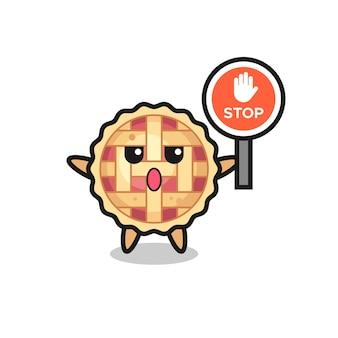 정지 신호를 들고 있는 애플 파이 캐릭터 그림, 티셔츠, 스티커, 로고 요소를 위한 귀여운 스타일 디자인