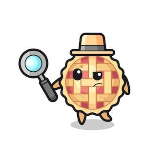 アップルパイの探偵キャラクターがケースを分析している、tシャツ、ステッカー、ロゴ要素のかわいいスタイルのデザイン
