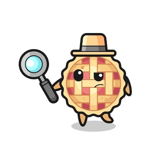 Apple pie detective character is analyzing a case , cute style design for t shirt, sticker, logo element